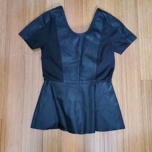 Only Faux Leather peplum blouse sz 34